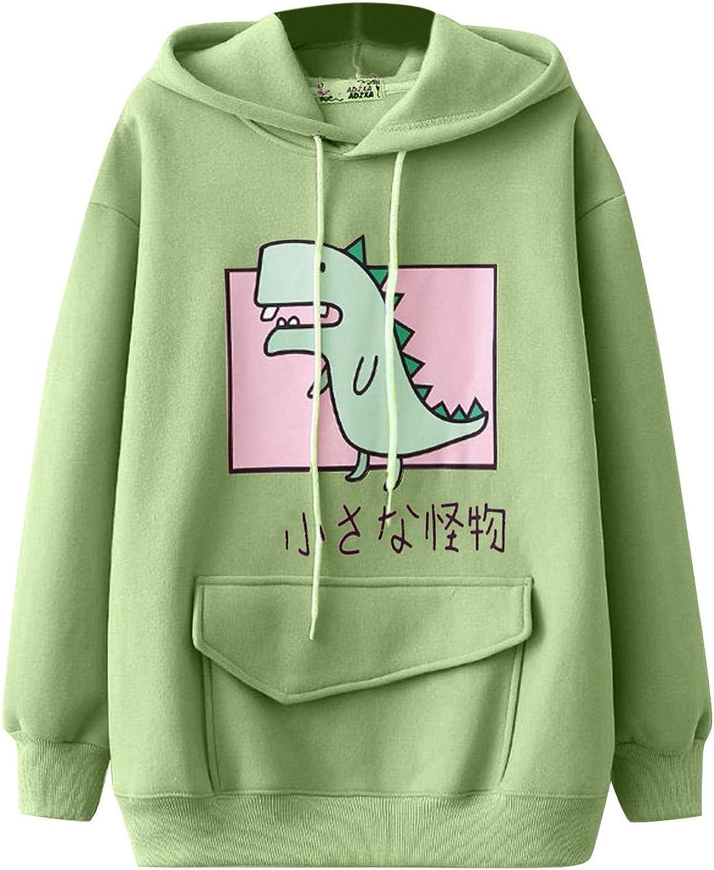 AODONG Sweatshirts for Women Dinosaur Hoodies Casual Long Sleeve Splice Tops Hooded Sweater Cartoon Cute Pullover