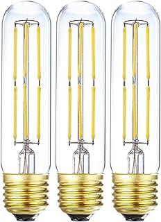 LEOOLS T10 Led Bulb 6W Dimmable Edison Led Tubular Bulb,E26 Medium Base Filament Lamp 60 Watt Incandescent Bulb Equivalent 4000K Daylight,Clear Glass,No Flicker,3 Pack.