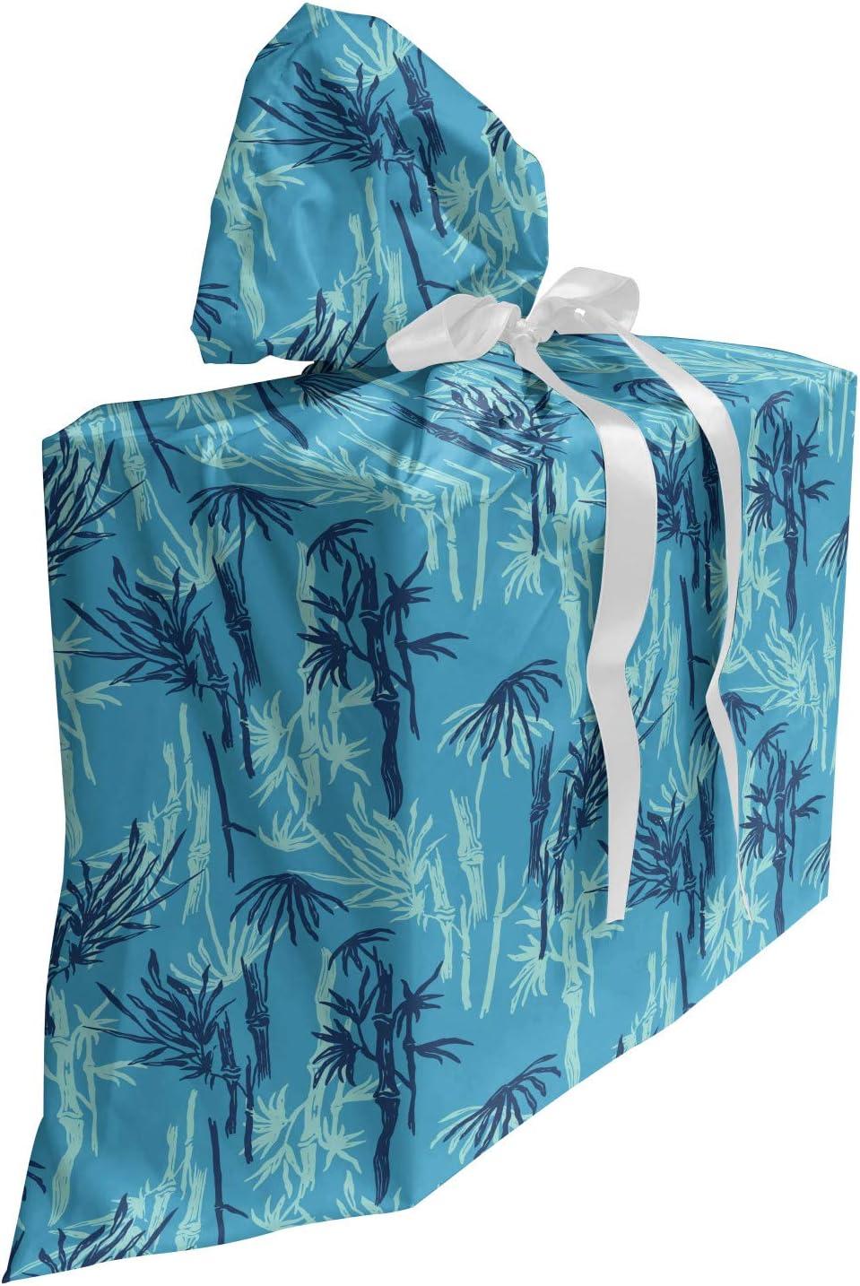 ABAKUHAUS plantas Bolsa de Regalo para Baby Shower, Patrón exótica Rama de bambú, Tela Estampada con 3 Moños Reutilizable, 70 cm x 80 cm, Cielo azul y Seafoam