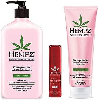 Hempz Pomegranate Herbal Body Moisturizer lotion, Wash & Limited Edition Lip Balm Trio Set