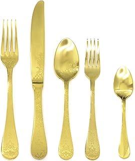 Mepra 1095CB22005 Ice Oro Place Set, [5 Piece, Brushed Gold Finish, Dishwasher Safe Cutlery