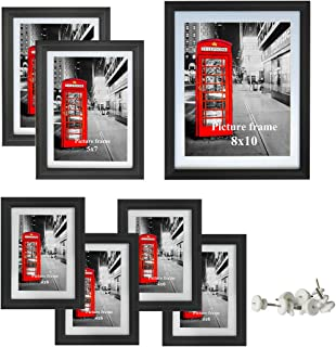 Amazing Roo Gallery Picture Frame Set of 7 Black Multi Photo Picture Frames with Glass Front Dispaly for Wall or Tabletop, One 8x10, Two 5x7, Four 4x6
