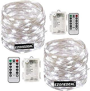 [2 Pack] Waterproof Led String Lights Battery Powered Fairy String Lights Battery Operated (Cool White)