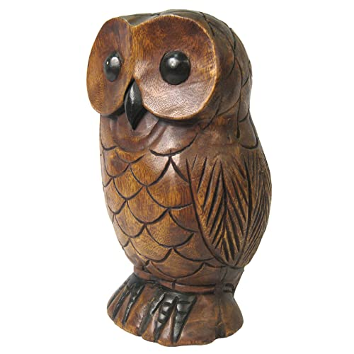 Once A Tree Wooden Owl 30cm Sculpture Hand Carved Acacia Wood Ornament Bird Figure