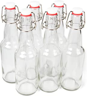 11 oz. Clear Glass Grolsch Beer Bottles – Airtight Seal with Swing Top/Flip Top Stoppers - Supplies for Home Brewing & Fermenting of Alcohol, Kombucha Tea, Wine, Homemade Soda (6-pack)