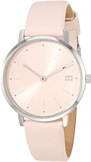 Women's Stainless Steel Quartz Watch with Leather Calfskin Strap, Pink, 16 (Model: 1781925)