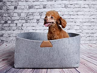 JPTACTICAL Felt Wool Pet Bed   Solid Color Cats Bed Dog Bed  Used as Both Cozy Dog/Cat Caves and Pet Blanket   for Cat Rabbit,Teddy Dog,Schnauzer,Bichon. (Gray)