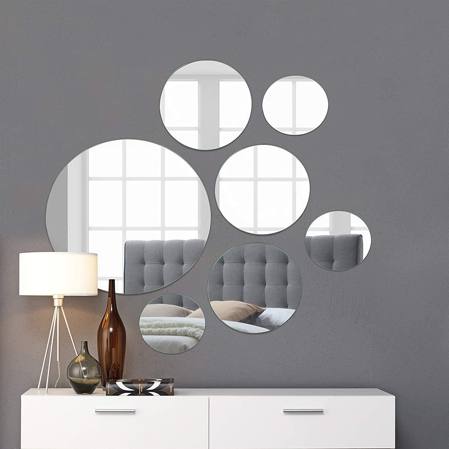 "Light In The Dark Large Round Mirror Wall Mounted Assorted Sizes (10x102"",  10x10"", 10x10"") - Set of 10 Round Glass Mirrors Wall Decoration for Living Room,"