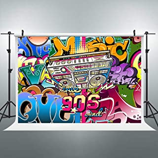 Riyidecor Graffiti 90s Party Decorations Backdrop Hip Hop Colorful Fashion Rock and Roll Wall 7Wx5H Feet Photography Background Baby Artistic Birthday Party Photo Studio Shoot Backdrop Vinyl Cloth