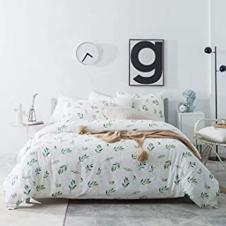 YuHeGuoJi 3 Pieces Duvet Cover Set 100% Cotton White Queen Size Green Grass Pattern Bedding Set 1 Dotted Duvet Cover with Zipper Ties 2 Pillowcases Luxury Quality Soft Breathable Lightweight Durable