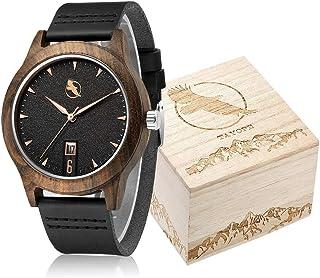 Wooden Watch, Wood Watches for Men Women Minimalist Design in Engraved Wood Box