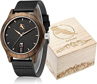 Wooden Watch, Tayope Wood Watch for Women Men, Minimalist Leather Bamboo Wrist Watch in Engraved Wood Gift Box