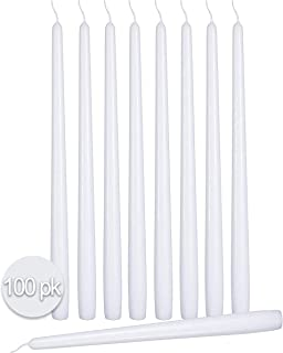 Ner Mitzvah 100 Pack Tall Taper Candles - 10 Inch White Dripless, Unscented Dinner Candle - Paraffin Wax with Cotton Wicks - 8 Hour Burn Time