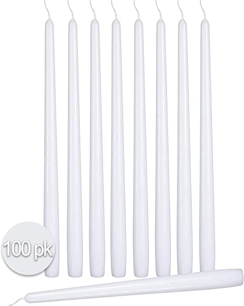 Ner Mitzvah 100 Pack Tall Taper Candles 10 Inch White Dripless Unscented Dinner Candle Paraffin Wax With Cotton Wicks 8 Hour Burn Time
