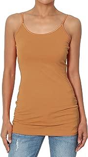 Women Adjustable Spaghetti Strap Stretch Cotton Long Cami Tank Top S~3X