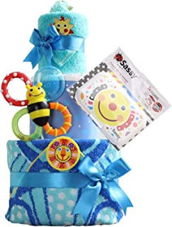 Sassy サッシー 出産祝い 3段 おむつケーキ 名入れ刺繍 歯固め ビタット Bitatto (パンパースパンツタイプSサイズ, ブルー)
