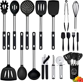 Silicone Kitchen Utensils Set, 18 Pcs Cooking Utensils Set Heat Resistant Non-stick Kitchen Utensils for Cooking with Stainless Steel Handle Can Opener Spatulas Pizza Cutter Kitchen Tools Set - Black