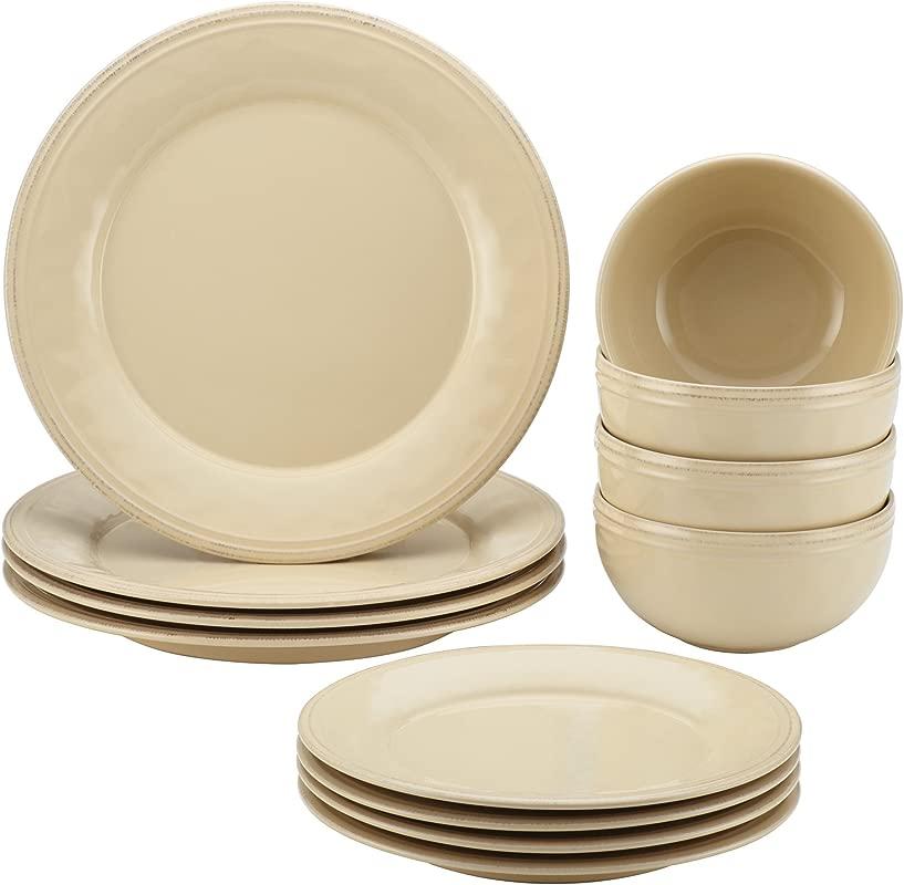 Rachael Ray Cucina 12 Piece Dinnerware Set Stoneware Almond Cream