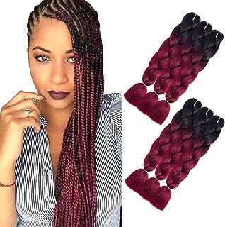 AQINBEL 24 Inch 6PCS/Lot Braiding Hair for Women Ombre Jumbo Braiding Hair Extension Kanekalon High Temperature Jumbo Braids for Twist Crochet Braiding Hair(Black to Wine Red)
