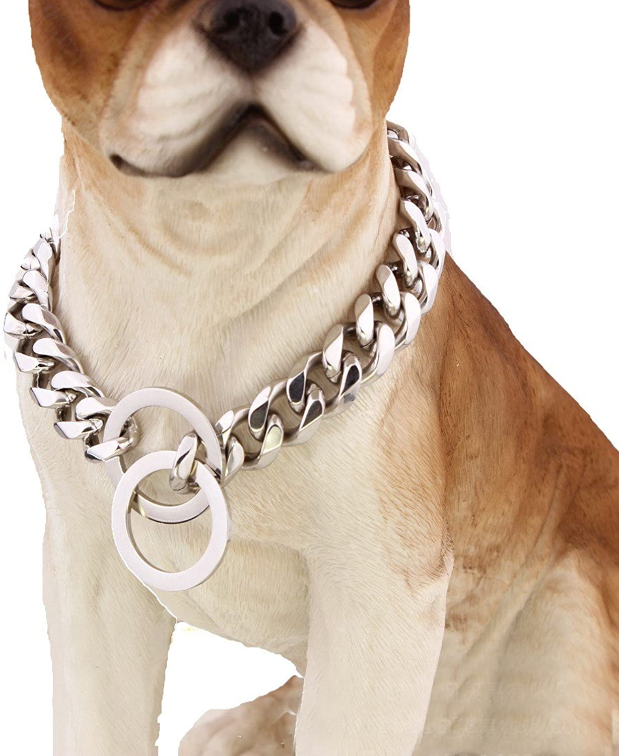 Pet Online Dog collar mirror polished stainless steel p chain titanium steel chain necklace pet dog training leash Tow Collar 15mm,20