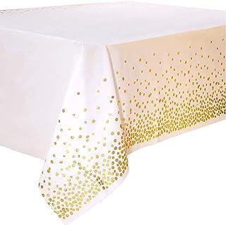 4PCS Nappe de Table de Fête Blanc et Or Jetable pour Table Rectangulaire, Couverture de Table en Plastique Confettis Dorés...