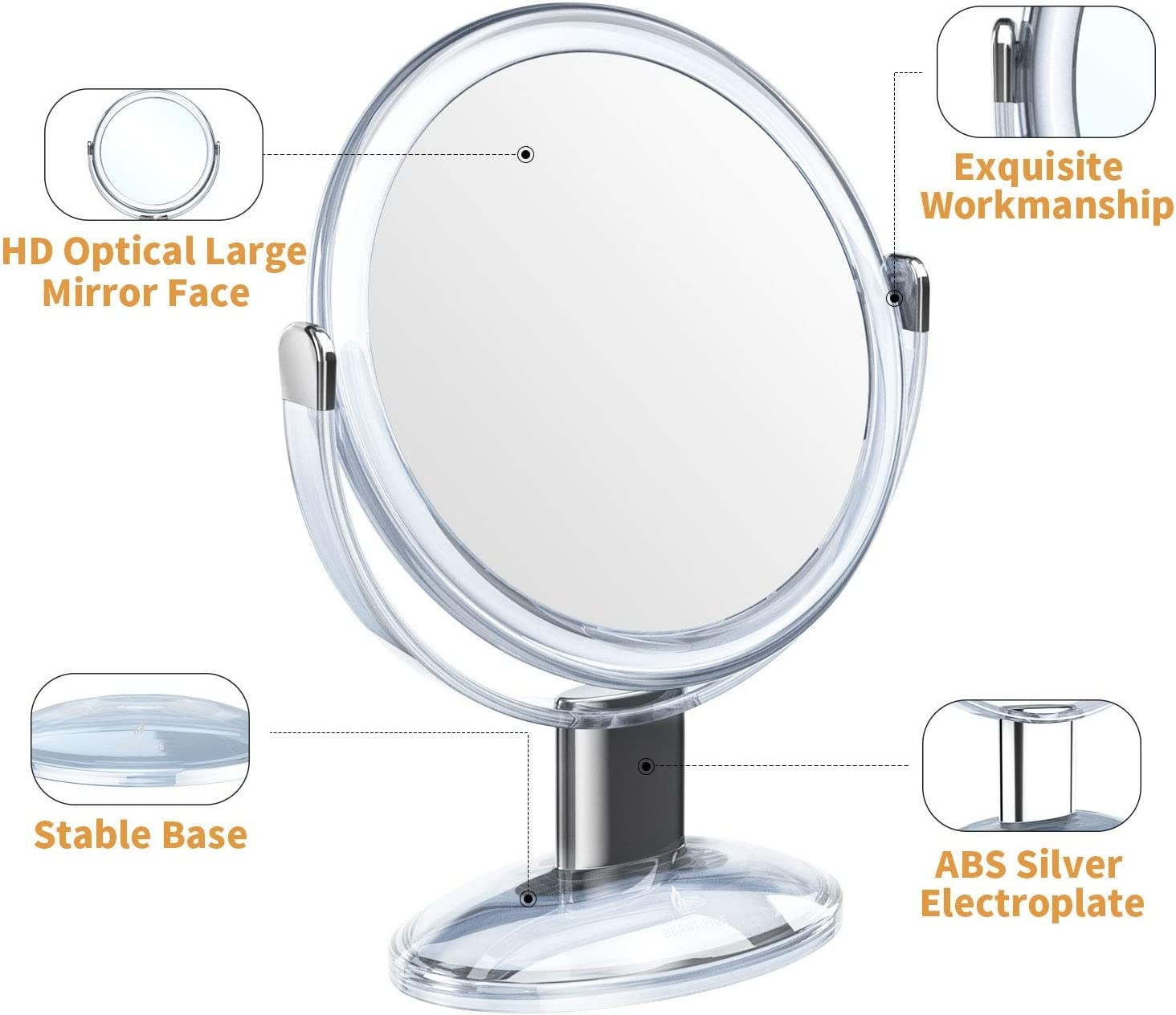 Buy Beautifive Makeup Mirror Double Sided Vanity Mirror With 1x 7x Tabletop Magnifying Mirror Swivel Round Mirror With 360 Rotation Bathroom Mirror Transparent Online In Vietnam B0872zp9tv