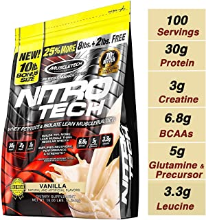 MuscleTech NitroTech Protein Powder Plus Muscle Builder, 100% Whey Protein with Whey Isolate, Vanilla, 103 Servings (10lbs)