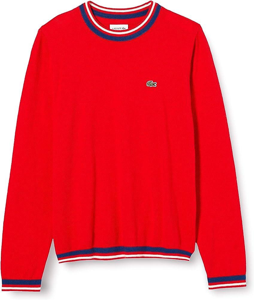 Lacoste, Maglione per  Bambino,Pullover da bambino in lana e cotone con dettagli a righe AJ1352
