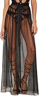 Jessicalove Womens Sexy Sheer Mesh High Waist Tie Waist Split Maxi Skirt