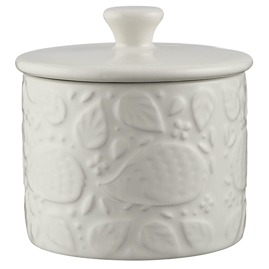 Mason Cash In the Forest Sugar Bowl With Lid, Durable Stoneware, Intricate Embossed Design, 8-Fluid Ounces, Dishwasher Safe, Cream