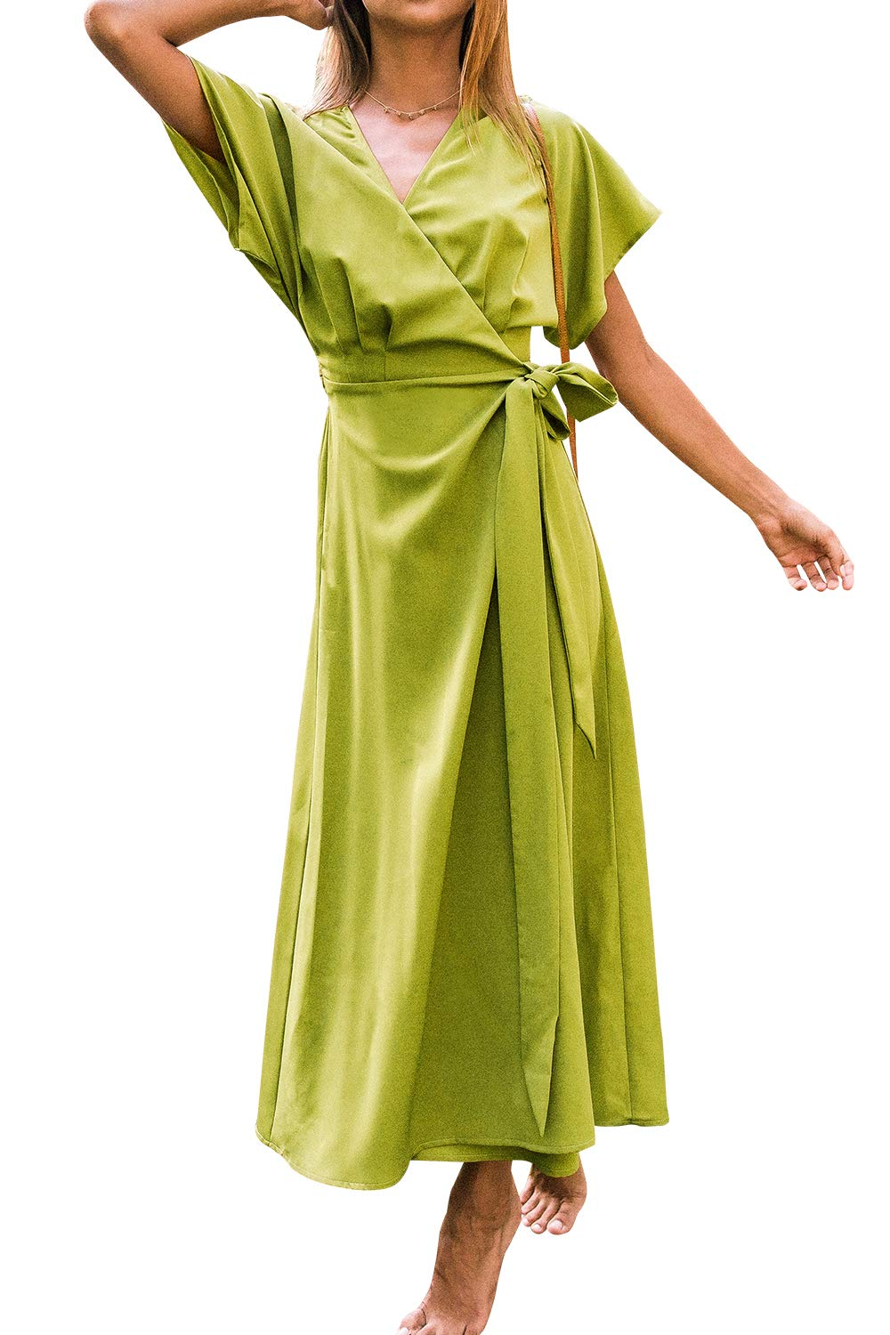 Available at Amazon: CUPSHE Women's Green Wrap V Neck Self Tie Short Sleeve Maxi Dress