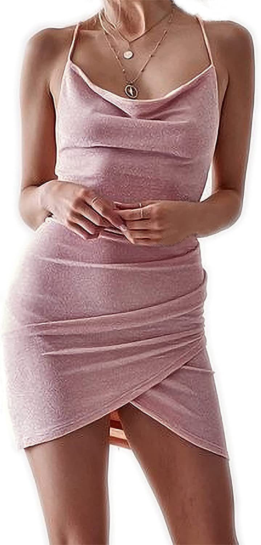 Suwindy Women's Sexy Glitter Bodycon Tulip Hem Mini Dress Halter Club Party Dresses