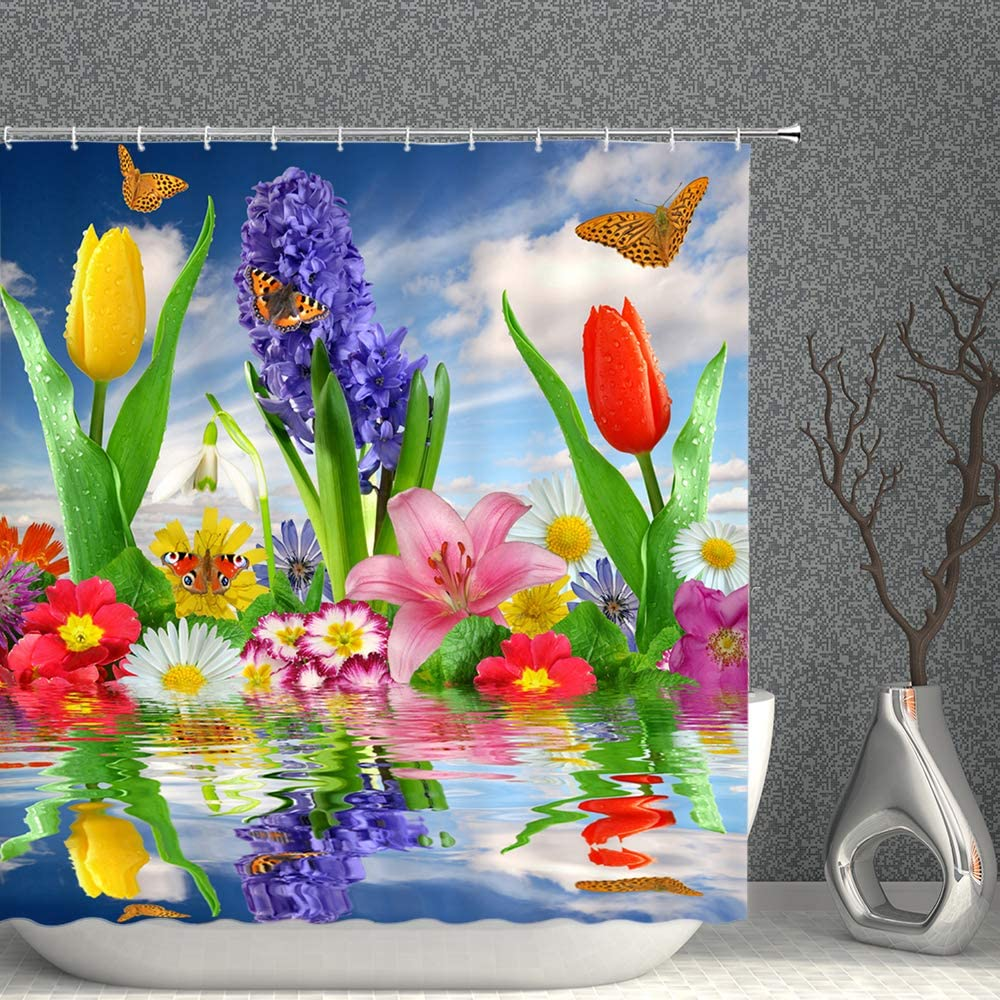 Teal Tulip Flower Fabric Shower Curtain Blue Green Spring Floral Decor Bathroom Curtains,Waterproof Polyester Bath Curtain Set with Hooks 70x70 Inch