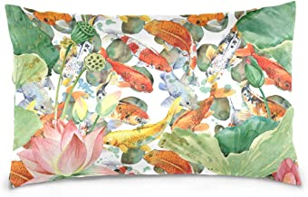 Mydaily Koi Carps Fish Flower Watercolor Throw Pillow Case Cotton Velvet Rectangular Cushion Cover 20x26 inch