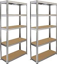 2x Galwix Stellingkasten - 90x30x180 cm - 100% boutloos - Draagkracht: 175 kg per plank - opbergrek metaal