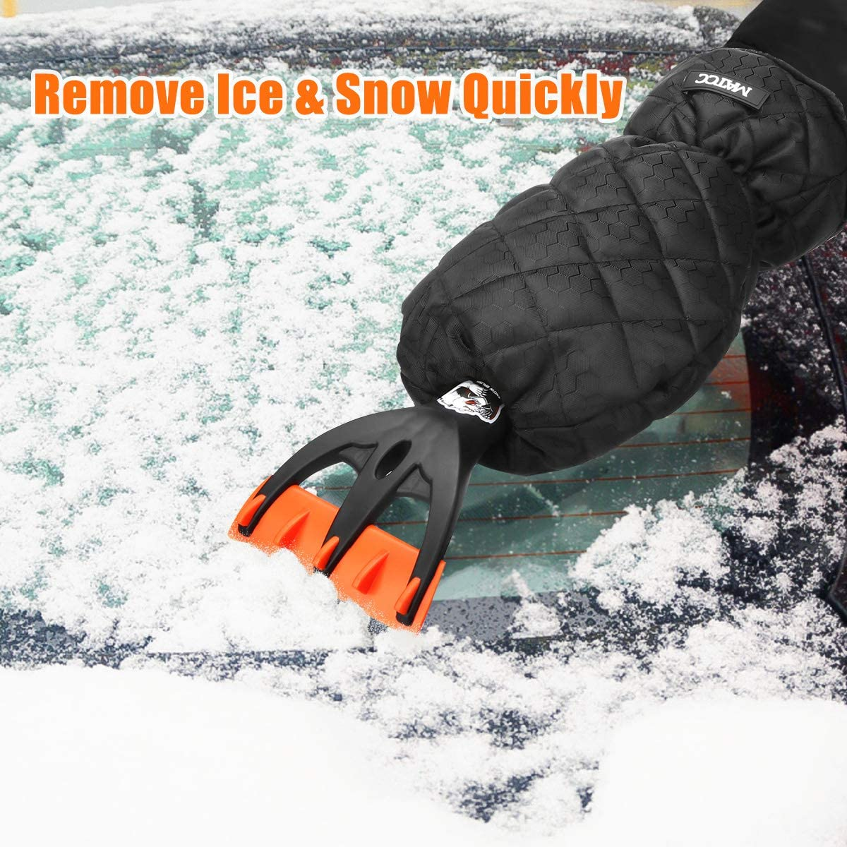 MATCC Ice Scraper Mitt for Windshield Car Ice Scraper Glove Waterproof and Warm Small Car Window Snow Scraper Tool for Freezer Model MIC004