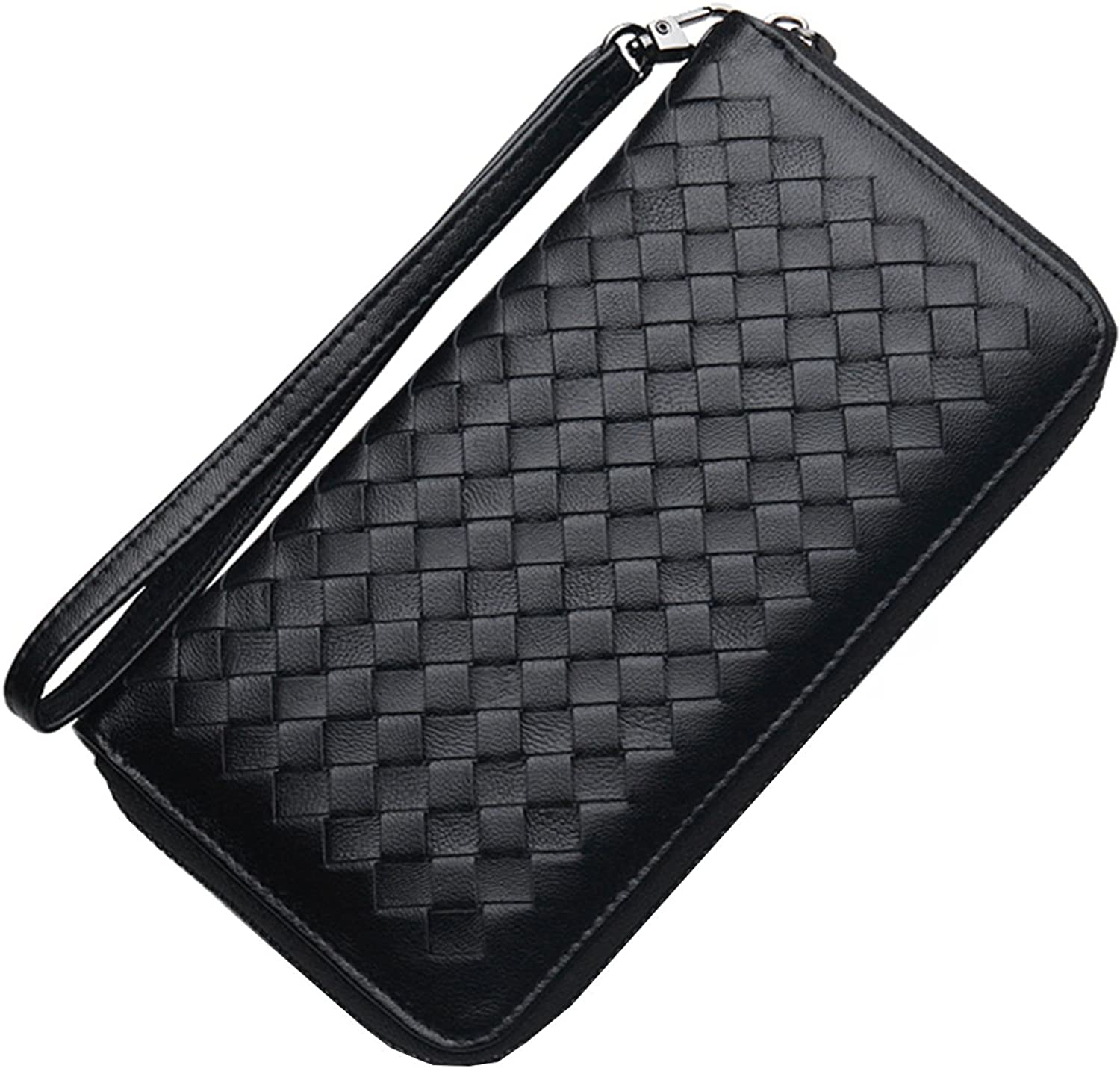 Qidell Female and Male Genuine Leather Wallet Sheepskin Long Woven Highcapacity Zipper Clutch Purse