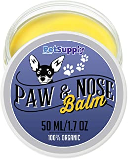 Dog Paw & Nose Balm - 100% Organic Natural Paw Protection and Treatment Wax for Cracked Paw Pads Organic Cream Moisturizer and Soother Heals Pet Paws - Winter and Snow Cracked Paws and Nose Protector