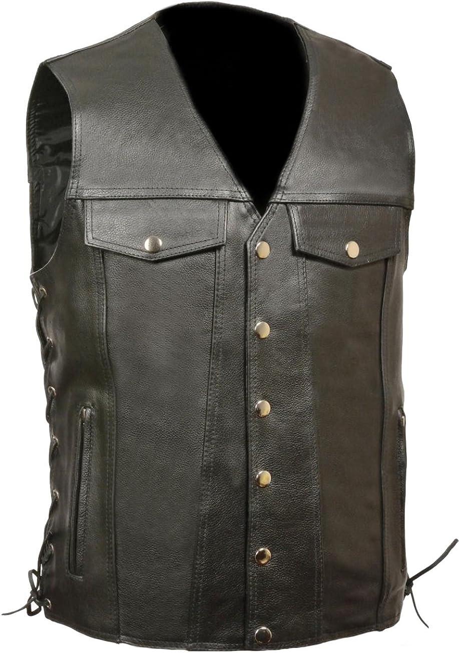 Classyak Men's Fashion Snap Side Lace Real Leather Vest
