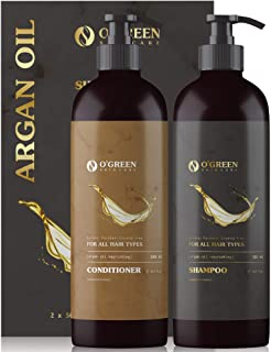 OGREEN Moroccan Argan Oil Shampoo and Conditioner Set - Keratin, Organic Moisturizing & Paraben Free - Safe for Color Trea...
