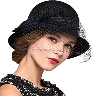 Trade; Women's Vintage Fedoras Wool Felt Veil Hat