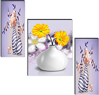 SAF Set of 3 Beautiful Flower Pot UV Textured Self adeshive Home Decorative Gift Item Painting 18 Inch X 12 Inch SANFJM31372