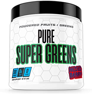 Pure Super Greens Powder Supplement - Made from Real Fruit and Greens - Mixed Berry Flavor - 30 Servings - Keto Friendly O...