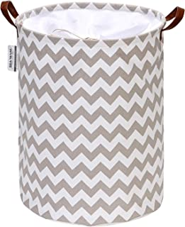 Sea Team Chevron Pattern Laundry Hamper Canvas Fabric Laundry Basket Collapsible Storage Bin with PU Leather Handles and Drawstring Closure, 17.7 by 13.8 inches, Waterproof Inner, Grey