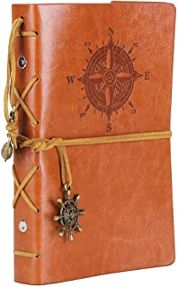 Leather Writing Journal Notebook, EvZ 7 Inches Vintage Nautical Spiral Blank String Diary Notepad Sketchbook Travel to Write in, Unlined Paper, Retro Pendants, Classic Embossed, Brown
