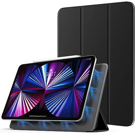 iPad Pro 11 2021 ケース TiMOVO iPad Pro 11 2018/2020 第1/2/3世代対応ケース 磁気吸着 スマートフォリオケース Pencil 2 ワイヤレス充電可能 オートスリープ機能 手帳式 超薄型 スリム 軽量 ブラック