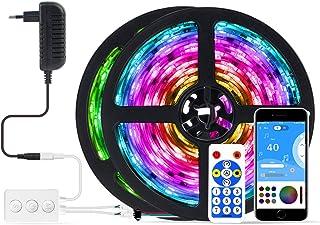 BTF-LIGHTING Tira de luz LED con doble salida,control de aplicación de música Bluetooth, 5050RGB, IC direccionable, flexib...