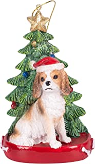Cavalier King Charles 4 Inch Santa Dog Resin Christmas Ornament