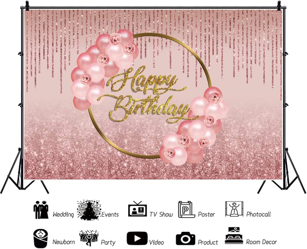 DaShan 6.5x5ft Polyester Pink Balloon Happy Birthday Backdrop Flower Cake Smash 1st Birthday Floral Roses Lady Fabulous 30th 40th Birthday Photography Background Women Lady Birthday Youtube Photo Prop