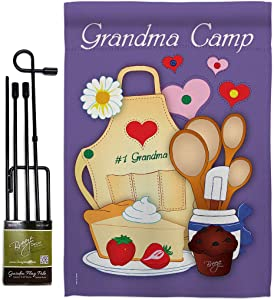 Breeze Decor Grandma Camp Garden Flag Set with Stand Family Grandpa Nana Papa Parent Sibling Relatives Grandparent House Decoration Banner Small Yard Gift Double-Sided, Made in USA